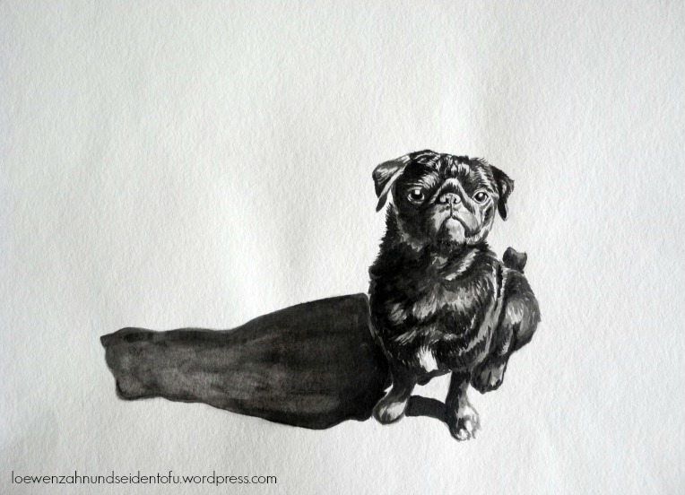 #inktober pug long shadow