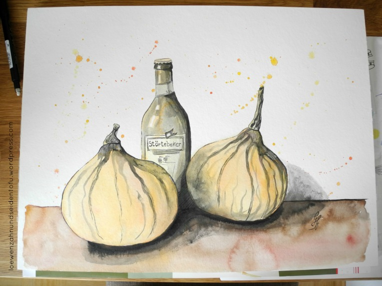 #inktober pumpkin and beer ink and watercolor, tinte und aquarell, kürbis und bier