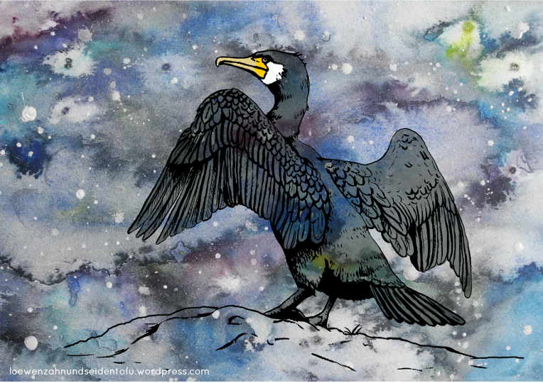 #inktober cormorant, watercolor ink and digital, Aquarell Tinte und digital