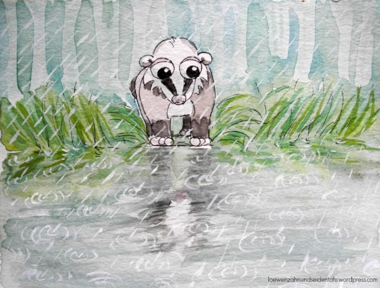 A badgers dream, Dachsträume ilustrated watercolor
