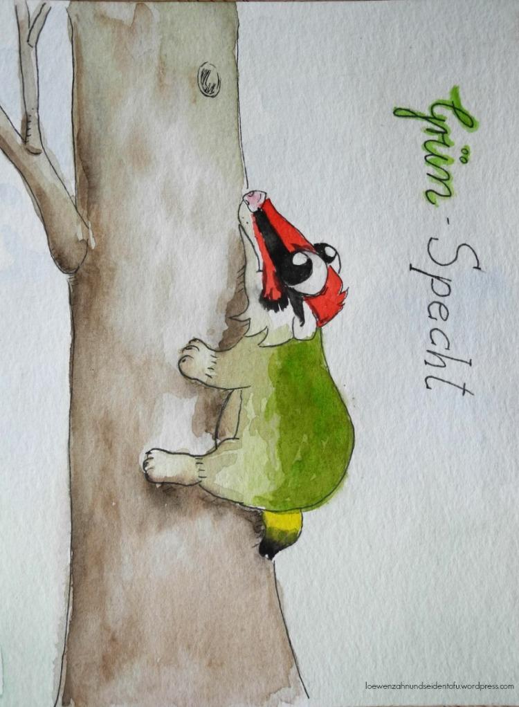 A badgers dream, Dachsträume: Grünspecht