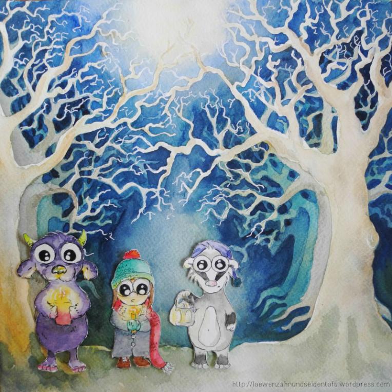 Advent, Advent ein Lichtlein breinnt. Erst eins, dann zwei, dann drei; Illustration, Aquarell, watercolor