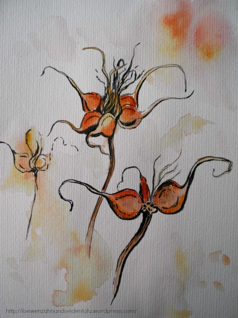 Tinte und Aquarell Clematissamen, Inspiration Natur im Winter,
