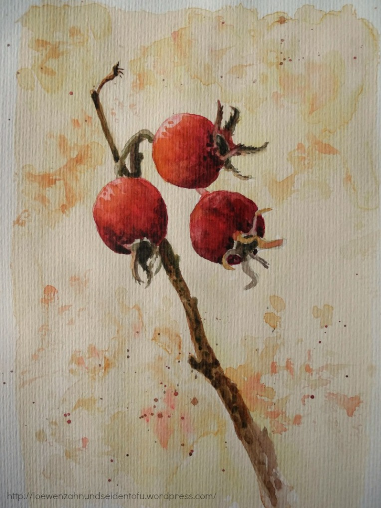 Aquarell Weißdorn, watercolor hawthorn, nature inspiration in winter