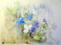 Blätter und Blüten im Vordergrund werden Trocken-auf-Trocken gemalt