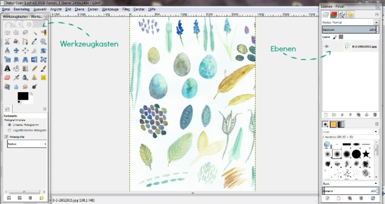 Wiederholende Muster aus Aquarellmotiven mit Gimp und Inkscape