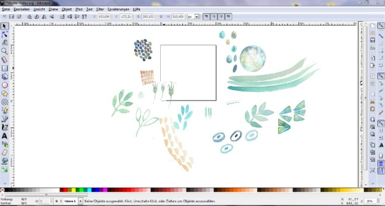 Inkscape Tutorial Muster aus Aquarellmotiven
