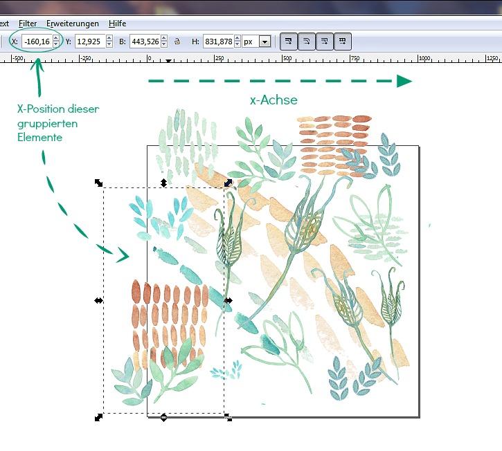 Inkscape Tutorial Muster erstellen aus Aquarellmotiven